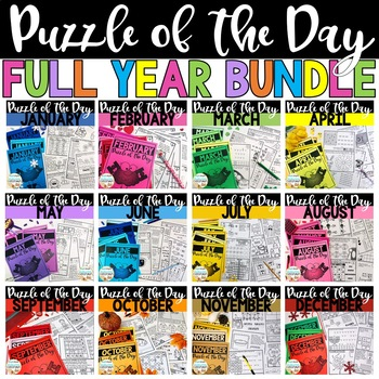 Puzzle of the Day Full Year GROWING BUNDLE | Brainteasers | Early Finishers