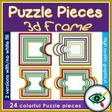 Puzzle pieces 3d frames clipart