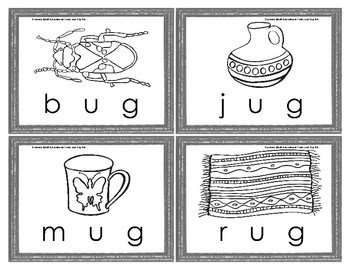 Color Your Own Rhyming Word Family Three Letter Picture Word Puzzles for PreK-1