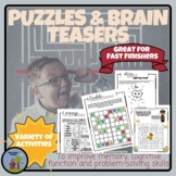 Puzzles & Brain Teasers - Activities for Fast Finishers National Puzzle Day