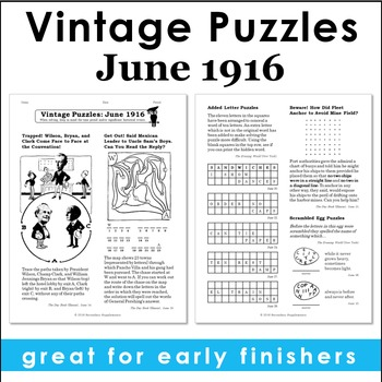 Vintage U.S. History Puzzles from June 1916