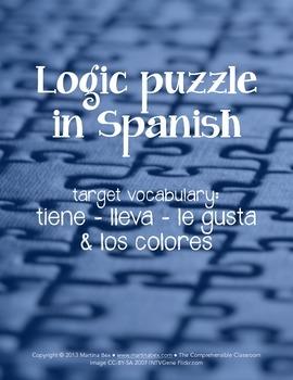 Puzzles: Logic Puzzles in Spanish, lleva, tiene, le gusta