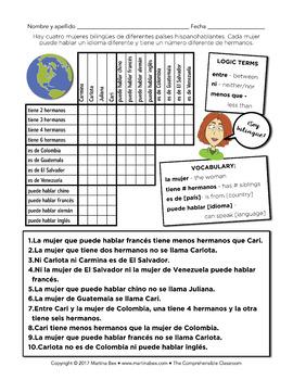 Puzzles: Logic Puzzles in Spanish, tiene, puede, es de