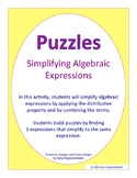 Puzzles: Simplifying Algebraic Expressions- Distributive Prop+Combine Like Terms