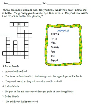 Crossword puzzles soil soil enrichment and soil for Soil 4 teachers