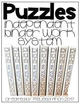 Puzzles- T.E.A.C.C.H. Independent Binder Work System