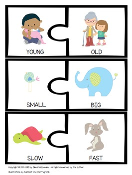 Puzzles With Opposites/ Antonyms {With and Without Text}
