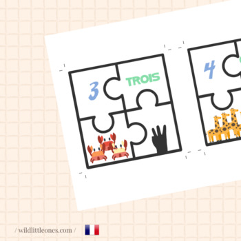 French Animal Numbers Puzzles 1 to 10⎜Number Match Game⎜ Puzzles⎜Printable Game