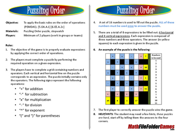 Puzzling Order an Order of Operations Game/Puzzle