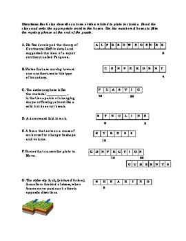 Puzzling Plates - Earthquakes / Plate Tectonics - Worksheet