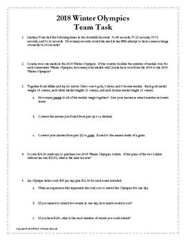 Pyeonchang Winter Olympics - Middle School Math Problem Solving Team