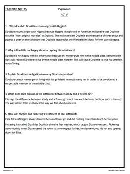 pygmalion act v study guide george bernard shaw by neu teaching rh teacherspayteachers com pygmalion study guide questions pygmalion study guide act 3 answers