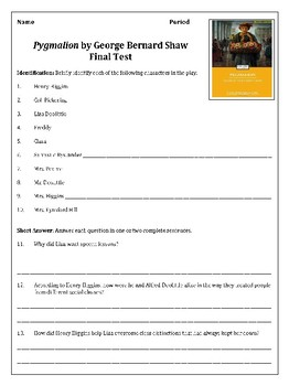 Pygmalion Final Review Test