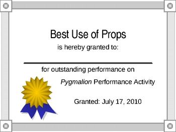 Pygmalion Performance Activity Award Certificates