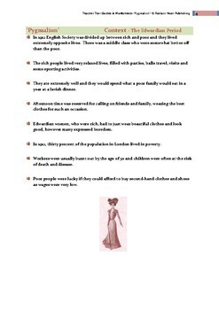 Pygmalion- Shaw; Teacher Text Guides & Worksheets