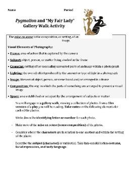 "Pygmalion ""My Fair Lady"" Gallery Walk Activity"