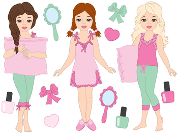 Pyjama Clipart - Digital Vector Pyjama, Girl, Slumber, Pajama Clip Art