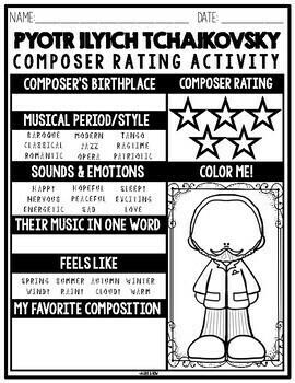 Pyotr Ilyich Tchaikovsky, Classical Composer Unit Study, May Birthday, Printable