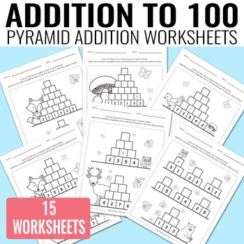 Pyramid Addition to 100 Worksheets