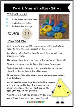 Pyramid Bottle Cap Center Game for any List