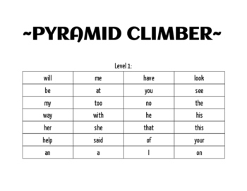 Pyramid Climber Game-Sight Words Levels 1-3