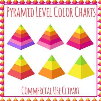 Pyramid Diagrams Color Clip Art Set for Commercial Use