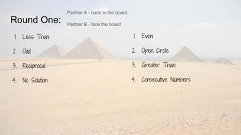 Pyramid: Equations and Inequalities Vocabulary Review Game