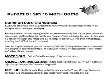 Pyramid I Spy 10 Math Game