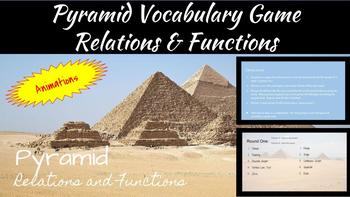Pyramid: Relations and Functions Vocabulary Review Game
