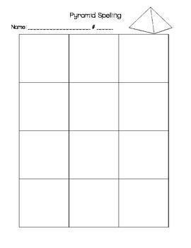 Pyramid Spelling Sheet