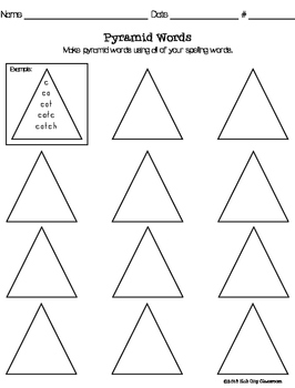Pyramid Words Spelling Practice (FREEBIE)