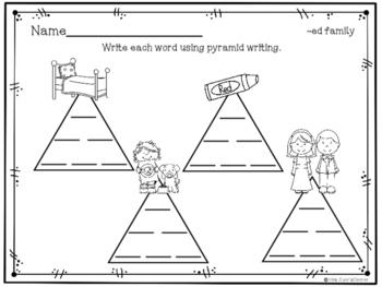 Pyramid Writing - CVC Short E Words