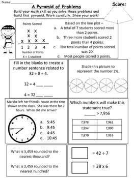 Pyramid of Problems Set 2: SOL Math Review Third Grade Testing Practice