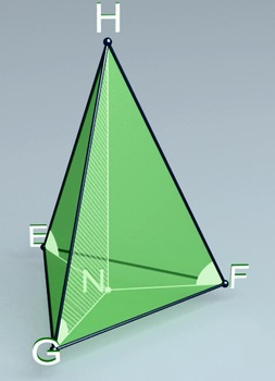 Pyramid with lateral edges forming equal angles with base plane (3d video model)