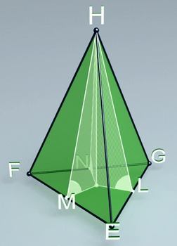 Pyramid with lateral faces forming equal angles with base plane (3d video model)