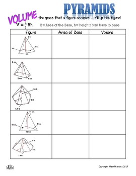 Pyramids: Volume, Lateral Area, & Surface Area GUIDED NOTES