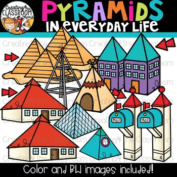 Pyramids in Everyday Life Clipart {Geometry Clipart}
