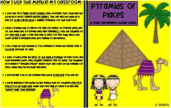 Pyramids of Places:Ready-to-Go 9 Week Geography Menus- 45 Questions