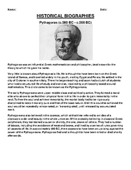 Pythagoras Biography Article and (3) Assignments