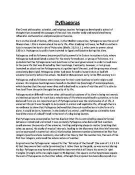 Pythagoras Biography Article and Assignment