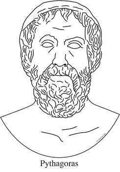 Pythagoras Clip Art, Coloring Page, or Mini-Poster