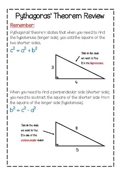Pythagoras Theorem Review