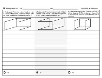 Pythagorean 12: Pythagorean TEST Calculations Distance Dimensions Word Problems