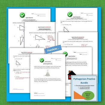 Pythagorean Theorem Test Prep Sub Plans Exit Tickets Bell Work 8.G.7 Geometry