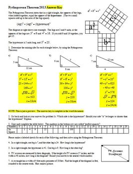 Pythagorean Theorem 2013 with Answer Key (Editable)