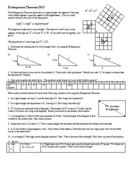 Pythagorean Theorem 2013 with Answer Key