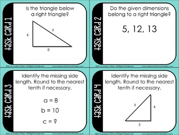 Pythagorean Theorem Task Cards: 8.G.7