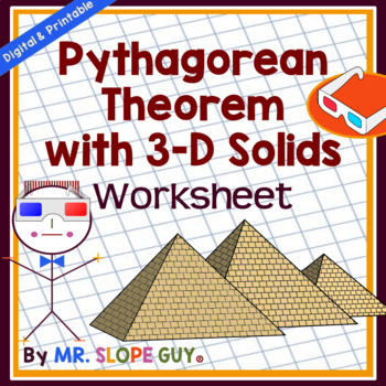 Pythagorean Theorem 3D Solids Pdf Worksheet Geometry 8.G.B.7 Go