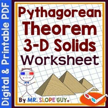 Pythagorean Theorem 3D Solids Worksheet Geometry 3-D