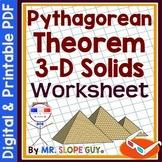 Pythagorean Theorem 3D Solids PDF Worksheet Geometry 8.G.B